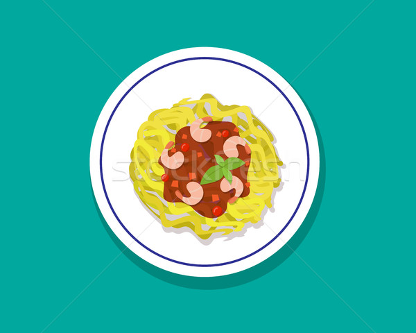 Espaguetis albahaca estilo vector diseno alimentos Foto stock © jiaking1
