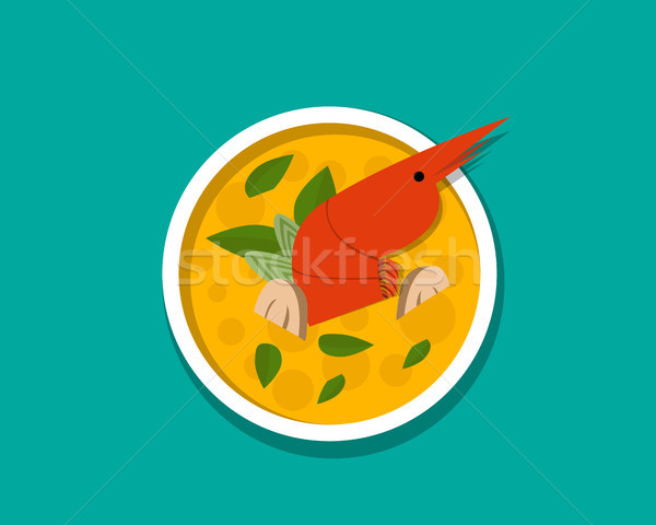Thai shrimp soup - Tom yum Kung, top view, vector Stock photo © jiaking1