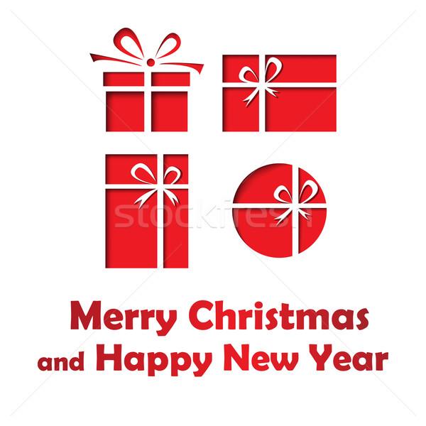 Allegro Natale buon anno carta quattro regali Foto d'archivio © jiaking1