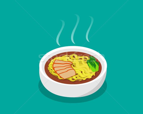 Egg noodle soup with roast pork and soup in 3d Stock photo © jiaking1