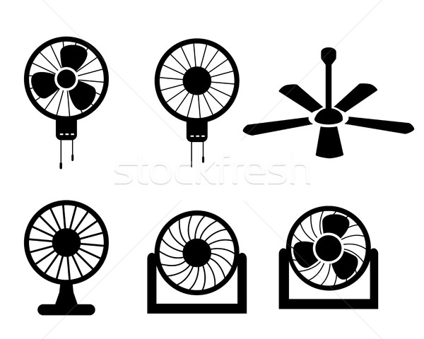 Stock photo: Set of fan icons in silhouette style, vector