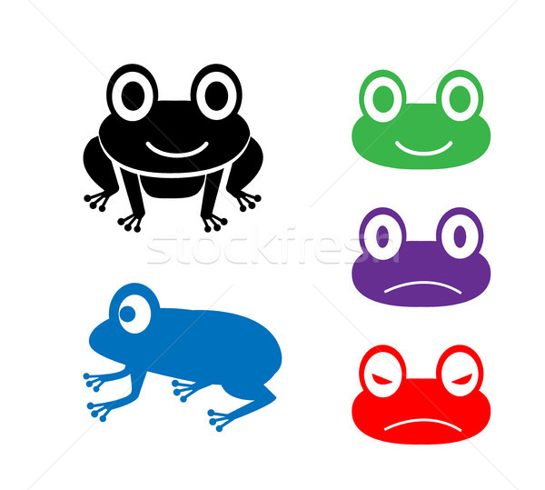 Set of frog icon in cartoon style, vector Stock photo © jiaking1
