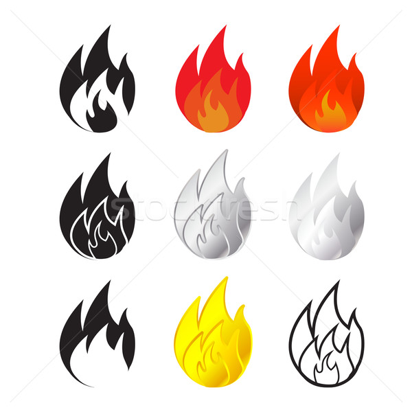 Fire and flames icon in many style Stock photo © jiaking1