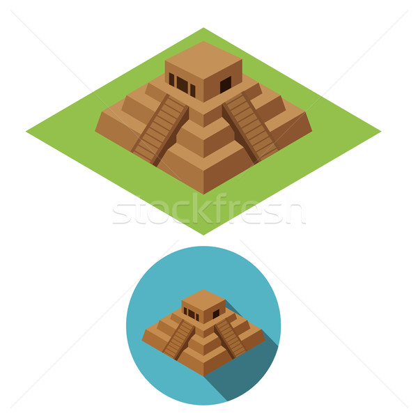 Chichen Itza icons in isometric style, vector Stock photo © jiaking1