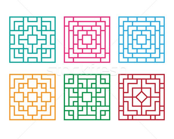 Çin süs pencere zemin vektör dizayn Stok fotoğraf © jiaking1
