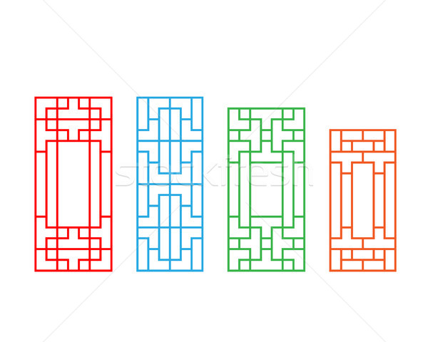 Set of Korean door pattern isolated on white Stock photo © jiaking1