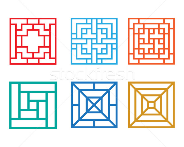 Square pattern window in Chinese style, vector Stock photo © jiaking1