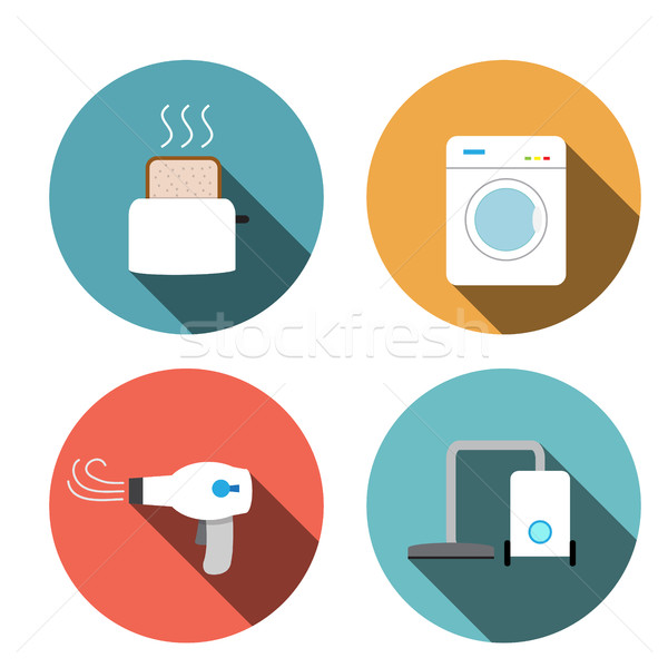 Toaster, hair dryer, washing ,vacuum cleaner icons Stock photo © jiaking1