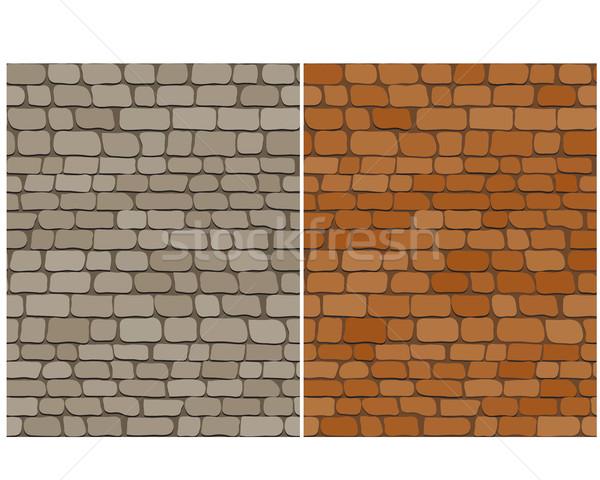 Ayarlamak eski tuğla duvar vektör inşaat Stok fotoğraf © jiaking1