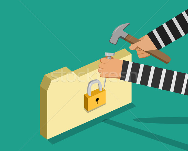 Hacker trying to unlock folder, vector Stock photo © jiaking1