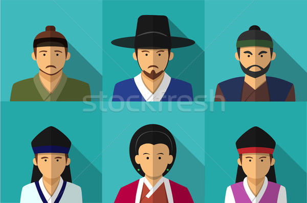 Portrait of Korean people in Traditional costume Stock photo © jiaking1