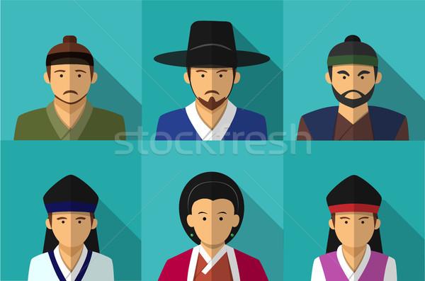 Portré emberek hagyományos jelmez vektor üzlet Stock fotó © jiaking1