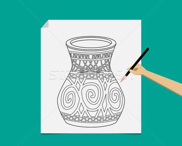 Sanatçı çanak çömlek beyaz kâğıt vektör eski Stok fotoğraf © jiaking1