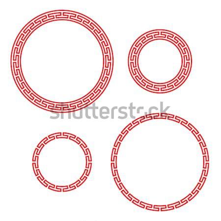 Photo stock: Rétro · chinois · cercle · fenêtre · vecteur