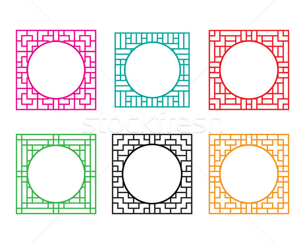 Square window frame with circle hole at center Stock photo © jiaking1