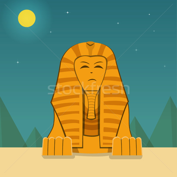 Front view, Sphinx at night time, vector landscape Stock photo © jiaking1