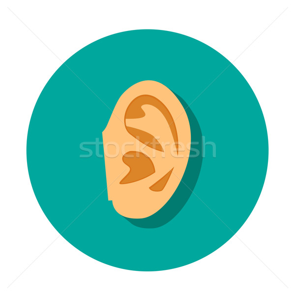 human ear icon with shadow in flat style Stock photo © jiaking1