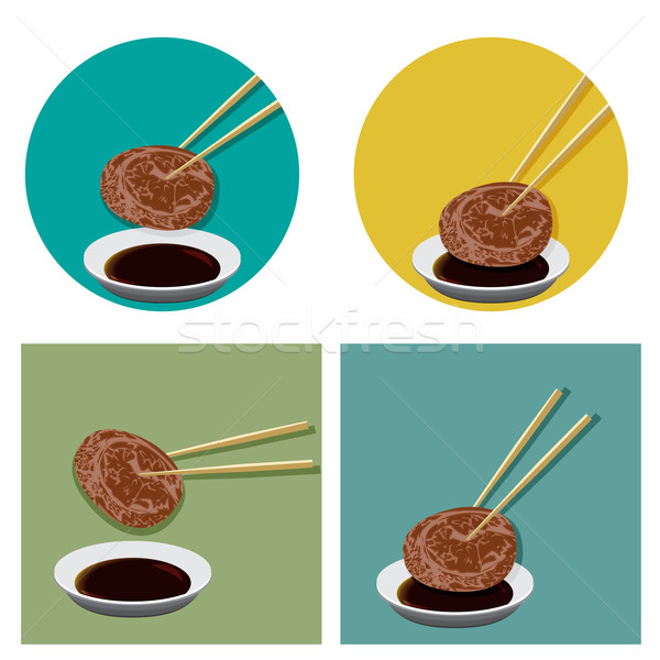 Piece of meat is holding with chopsticks and sauce Stock photo © jiaking1