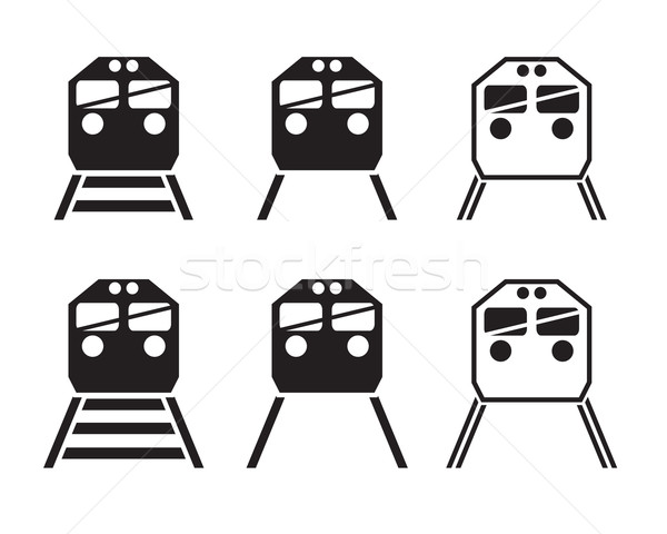 Set of train icon in silhouette  Stock photo © jiaking1