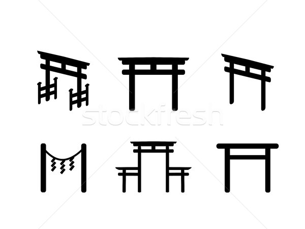 Ayarlamak ikon siluet stil vektör siyah Stok fotoğraf © jiaking1