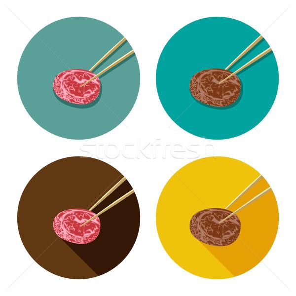 Darab hús tart evőpálcikák ikon stílus Stock fotó © jiaking1