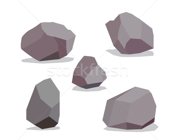 Big Rock stone cartoon in isometric 3d flat style Stock photo © jiaking1