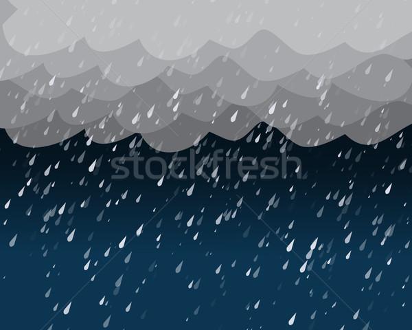 Nehéz eső sötét égbolt vektor víz Stock fotó © jiaking1