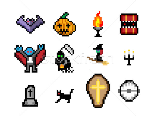Set of Halloween object in pixel style for game Stock photo © jiaking1