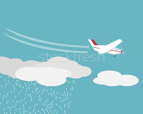 Artificial rain, Rainmaking, Cloud seeding,vector Stock photo © jiaking1