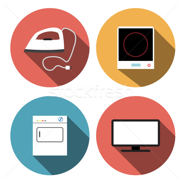 Electric stove, iron, incubators and TV icons Stock photo © jiaking1