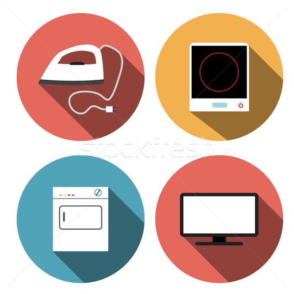 Elettrici stufa ferro tv icone vettore Foto d'archivio © jiaking1