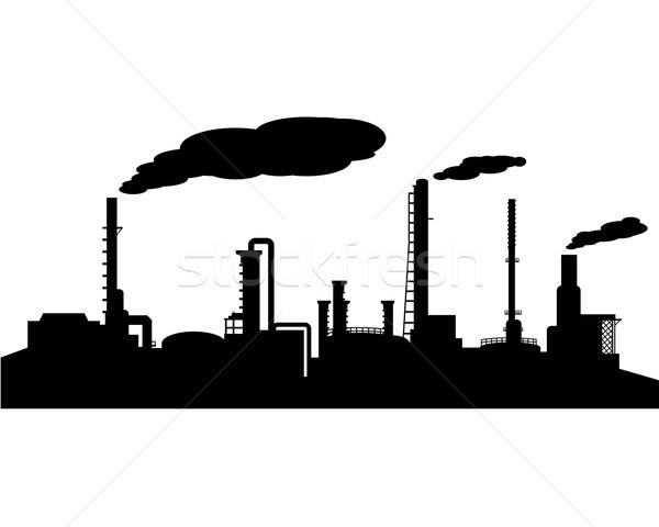 Refinería de petróleo industria silueta vector paisaje noche Foto stock © jiaking1