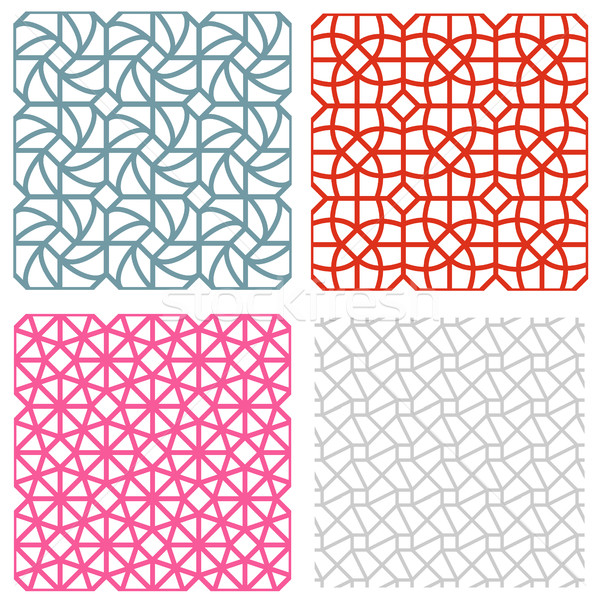 geometric mesh seamless pattern in korean style Stock photo © jiaking1