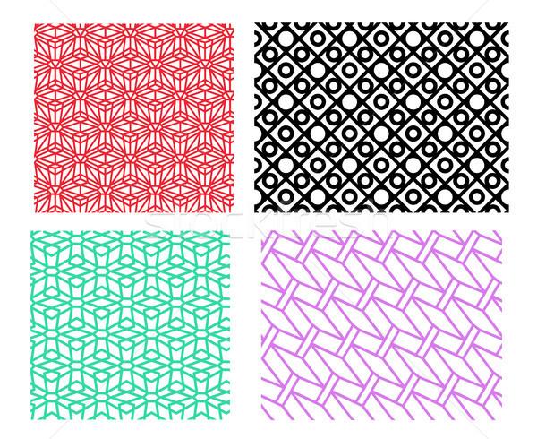 Zestaw geometryczny wzór liniowy stylu wektora tekstury Zdjęcia stock © jiaking1
