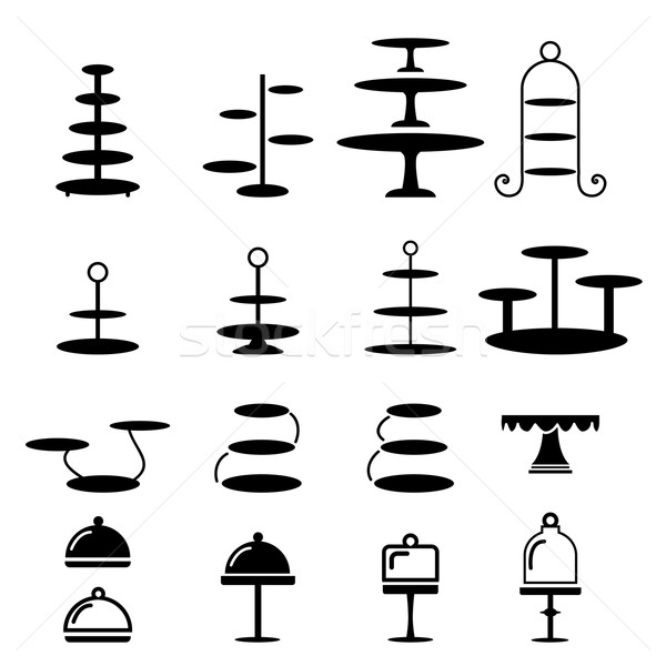 Set of cake stand in silhouette icon Stock photo © jiaking1