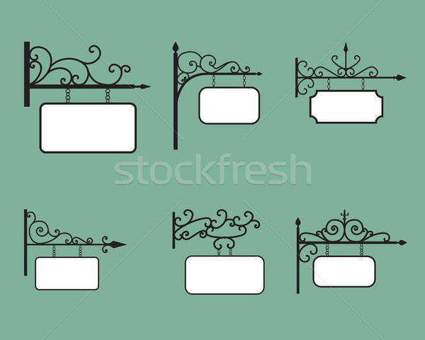 Düzenlenebilir asılı imzalamak afiş bağbozumu stil Stok fotoğraf © jiaking1