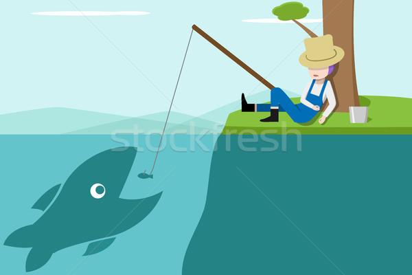 Snem rybaka duży ryb wektora Zdjęcia stock © jiaking1