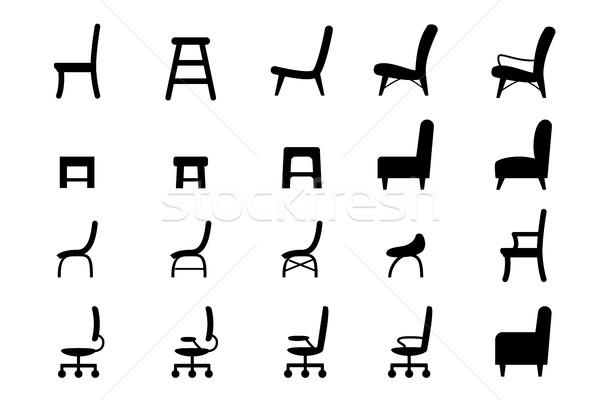 Silla iconos símbolo silueta estilo vector Foto stock © jiaking1