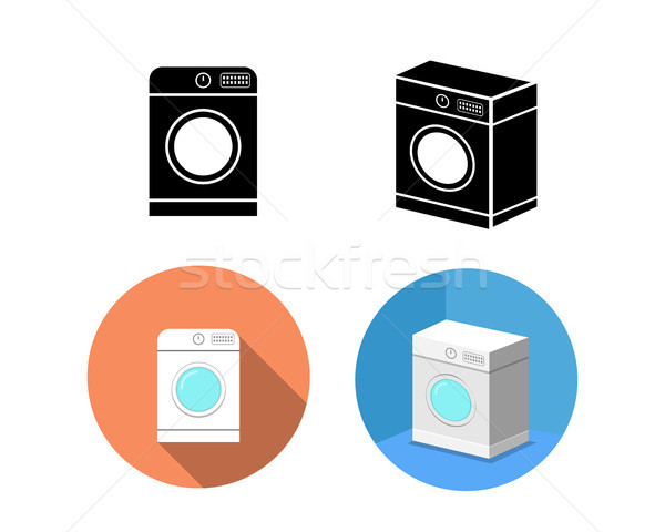 Zestaw pralka ikona wektora projektu domu Zdjęcia stock © jiaking1