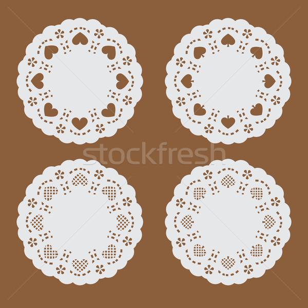 Poháralátét papír textúra szalag szív ásó kör Stock fotó © jiaking1