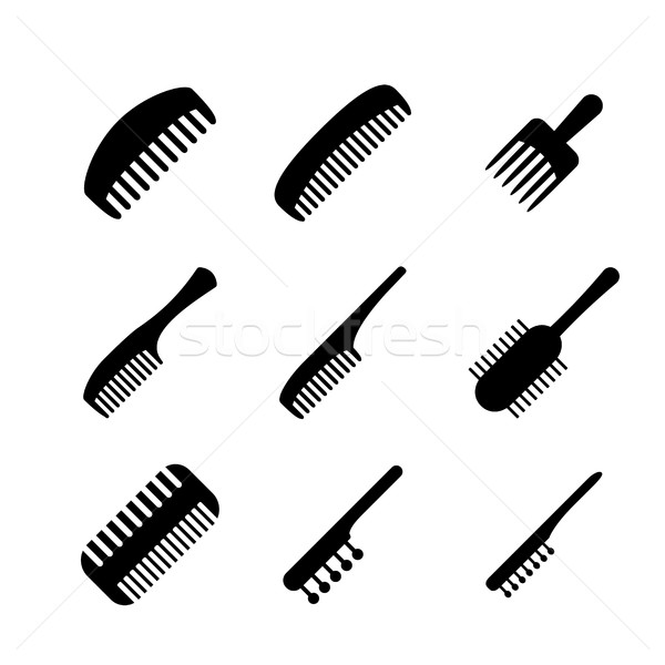 Set of Hair comb icons in silhouette style, vector Stock photo © jiaking1