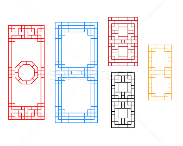 Rectangle Chinese window with pattern, vector Stock photo © jiaking1