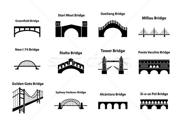 Zestaw most punkt orientacyjny ikona sylwetka stylu Zdjęcia stock © jiaking1