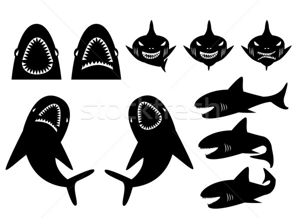 Collection of sharks silhouette in cartoon style Stock photo © jiaking1