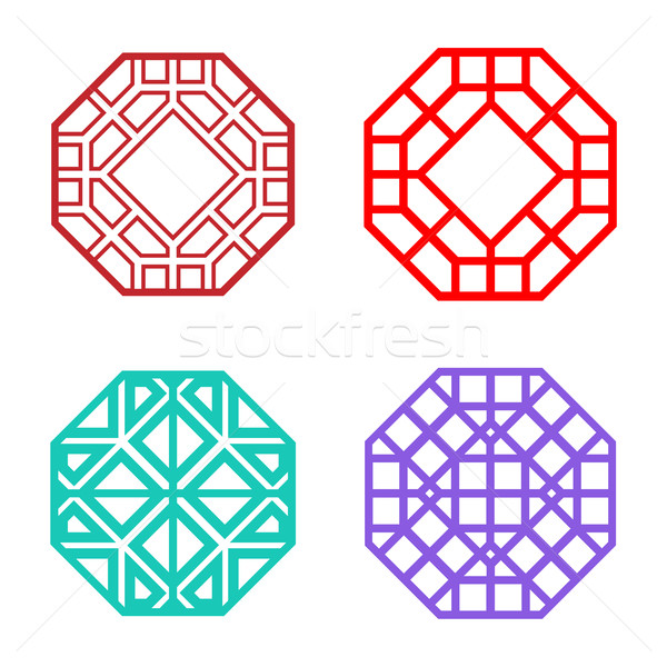 Set of Hexagon Korean pattern window frame Stock photo © jiaking1