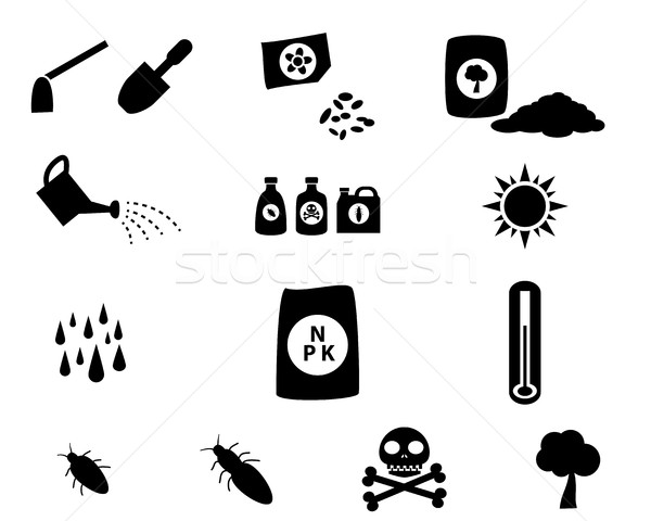 Set of cultivation icons in silhouette style Stock photo © jiaking1