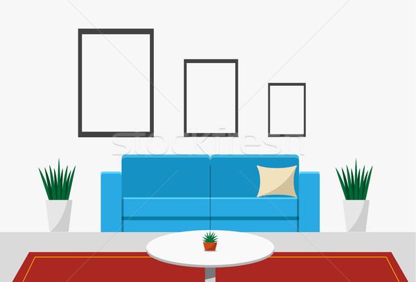 épületbelsők nappali elöl kilátás vektor terv Stock fotó © jiaking1