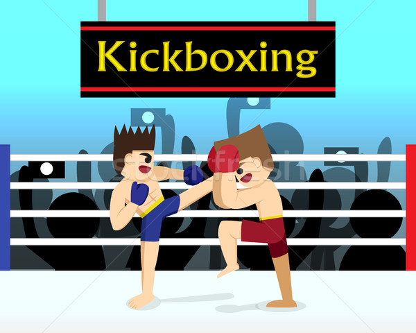 Two boxer are fighting in boxing stadium Stock photo © jiaking1