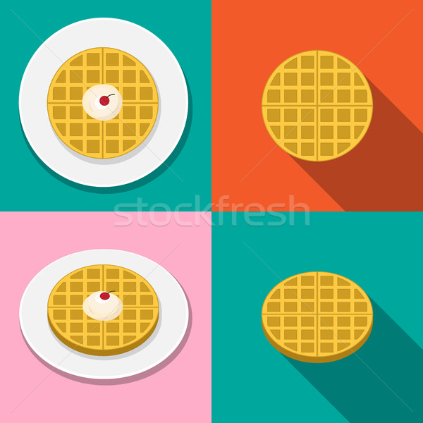 Waffle with ice cream on plate in flat style Stock photo © jiaking1