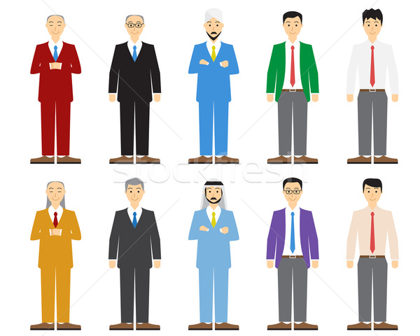 Set of old and young business man in flat style Stock photo © jiaking1